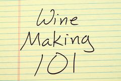 Wine Making 101 On A Yellow Legal Pad Stock Photo