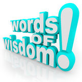Words of Wisdom 3d Words Advice Information. Words of Wisdom 3d words on white background symbolizing advice, information, communication, and sharing of tips and Stock Photography