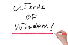 Words of wisdom. Written on white board stock photography