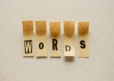 Words - word in sticky letters. Words -- word in sticky letters royalty free stock images