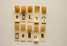 Only words - word in sticky letters.  royalty free stock images