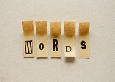 Words - word in sticky letters.  stock image