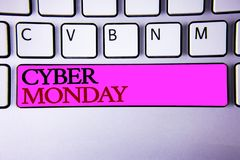 Word writing text Cyber Monday. Business concept for Special sales after Black Friday Online Shopping E-commerce. Words writing texts Cyber Monday. Business Royalty Free Stock Photography