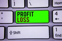 Word writing text Profit Loss. Business concept for Financial year end account contains total revenues and expenses. Words writing texts Profit Loss. Business stock images