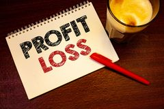 Word writing text Profit Loss. Business concept for Financial year end account contains total revenues and expensesNotebook page b. Words writing texts Profit royalty free stock photography