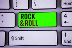 Word writing text Rock and Roll. Business concept for Musical Genre Type of popular dance music Heavy Beat Sound. Words writing texts Rock and Roll. Business royalty free stock image