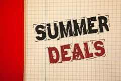 Word writing text Summer Deals. Business concept for Special Sales Offers for Vacation Holiday Trips Price Discounts. Words writing texts Summer Deals. Business Royalty Free Stock Photo