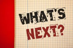Word writing text What Is Next Question. Business concept for Following steps Guidance to continue moving or working. Words writing texts What Is Next Question Stock Image