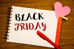 Word writing text Black Friday. Business concept for Special sales after Thanksgiving Shopping discounts Clearance. Words writing textss Black Friday. Business Royalty Free Stock Photography