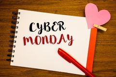 Word writing text Cyber Monday. Business concept for Special sales after Black Friday Online Shopping E-commerce. Words writing textss Cyber Monday. Business Stock Photo