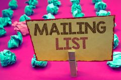 Word writing text Mailing List. Business concept for Names and addresses of people you are going to send something. Words writing textss Mailing List. Business Royalty Free Stock Images