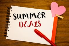 Word writing text Summer Deals. Business concept for Special Sales Offers for Vacation Holiday Trips Price Discounts. Words writing textss Summer Deals. Business Royalty Free Stock Image