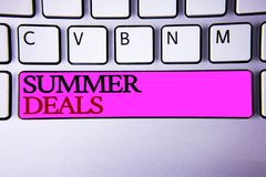 Word writing text Summer Deals. Business concept for Special Sales Offers for Vacation Holiday Trips Price Discounts. Words writing textss Summer Deals. Business Royalty Free Stock Photo