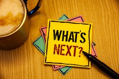 Word writing text What Is Next Question. Business concept for Following steps Guidance to continue moving or working. Words writing textss What Is Next Question royalty free stock photos