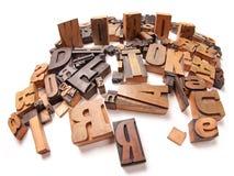 Words. Written among wooden typescript letters Stock Image