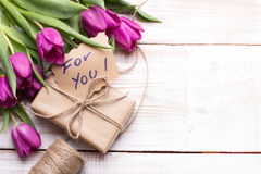 Words FOR YOU and bouquet of tulips Royalty Free Stock Photography