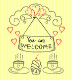 The words You are Welcome on striped yellow background. With cups and cakes Stock Illustration