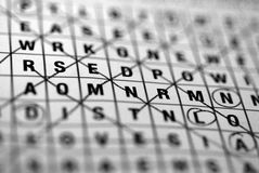 Wordsearch. A wordsearch puzzle close-up in black and white Stock Photo