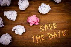 Word writing text Save The Date Motivational Call. Business concept for Remember not to schedule anything that time Stock Images