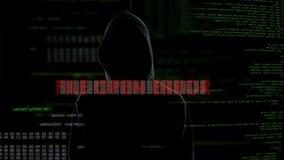 Wordt de dossier open fout, niet succesvolle het binnendringen in een beveiligd computersysteem poging op server, misdadiger woed stock footage
