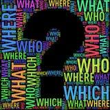 Wordtags de wordcloud de forme de point d'interrogation Images stock