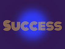 The word success on the light neon background. Worf word success light neon background stock illustration