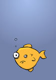 Woried Looking Gold Fish In The Sea Cartoon Chararcter Stock Photo