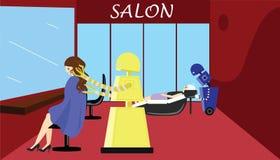 workÂ的国内机器人美发师在美容院 库存图片