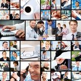 During work. Collage of businesspeople in different working situations Stock Images