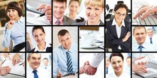 At work. Collage of attractive several businesspersons at work Royalty Free Stock Photography