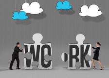 Work against grey jigsaw pieces Royalty Free Stock Photography