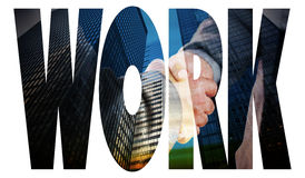Work  against low angle view of skyscrapers Stock Images