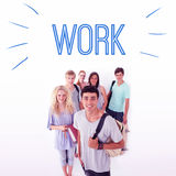 Work against smiling students Royalty Free Stock Photography