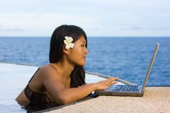 Work anywhere in paradise Stock Image