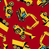 Work area construction vehicles seamless pattern Stock Photo