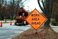 Work area sign 03. A work area sign near a construction site royalty free stock photos