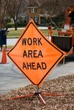 Work area sign. A work area sign near a construction site royalty free stock images