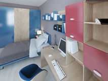 Work area in teenagers bedroom. Light brown wood table with computer. Wall system with accents of red and blue colors. 3D render royalty free illustration