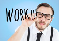 Work in arrow draw by concentrate young businessman Royalty Free Stock Image