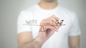 Work Balance Illustration, man writing on transparent screen. High quality Royalty Free Stock Photo
