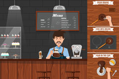 Work Of Barista Leaflet Stock Photography