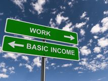 Work and basic income guideposts. Green work and basic income guideposts with pointing arrows showing in opposite directions and the sky in the background Stock Image