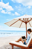 Work At Beach. Business Woman Working Online On Laptop Outdoors Royalty Free Stock Photography