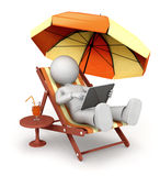 Work on the beach. 3d character working on laptop. 3d image  on white background Royalty Free Stock Photo