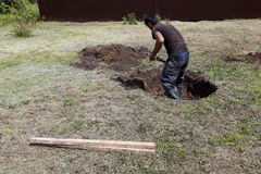 Work begins to dig a well stock photography