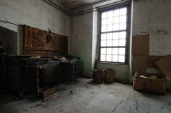 Work bench in abandoned factory Stock Image