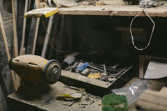 Work bench with an electric emery night Royalty Free Stock Image