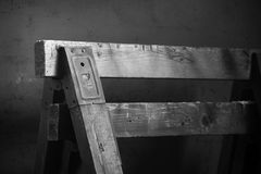 Work bench in an old dusty garage royalty free stock photo
