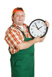 Work with a big clock in the hands Stock Photo