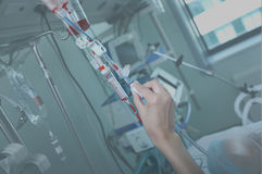 Work with blood (blood transfusion) in a hospital ward Stock Photo